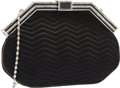 """Luxury Accessories:Bags, Judith Leiber Black Chevron Quilted Satin Evening Bag. Good Condition. 9.5"""" Width x 6.5"""" Height x 1"""" Depth. ..."""