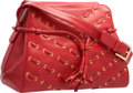 """Luxury Accessories:Bags, Judith Leiber Red Leather Shoulder Bag. Very Good Condition.11"""" Width x 8"""" Height x 6"""" Depth. ..."""