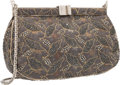 """Luxury Accessories:Accessories, Judith Leiber Gray Embroidered Jacquard & Gray Crystal Evening Bag with Silver Hardware. Very Good Condition. 9"""" Width..."""