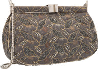Judith Leiber Gray Embroidered Jacquard & Gray Crystal Evening Bag with Silver Hardware Very Good Condition