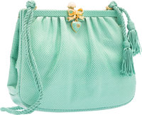 "Judith Leiber Green Karung Evening Bag Fair Condition 7.5"" Width x 6"" Height x 2"" Depth"