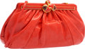 """Luxury Accessories:Bags, Judith Leiber Red Karung Evening Bag. Very Good Condition.12"""" Width x 6"""" Height x 3.5"""" Depth. ..."""