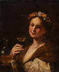 Fine Art - Painting, European:Antique  (Pre 1900), German School (18th Century). Woman with Wine. Oil on canvaslaid on board. 29 x 24 inches (73.7 x 61 cm). PROPERTY FR...