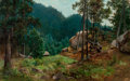 Fine Art - Painting, European:Antique  (Pre 1900), Josefina Holmlund (Scandinavian, 1827-1905). Swedish NationalPark. Oil on canvas. 15-1/4 x 23-3/4 inches (38.7 x 60.3 c...