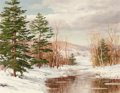 Fine Art - Painting, American:Modern  (1900 1949)  , Carl Wuermer (American, 1900-1983). The Wintry River. Oil oncanvas. 24 x 31 inches (61 x 78.7 cm). Signed lower left: ...