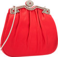 "Luxury Accessories:Bags, Judith Leiber Red Ruched Satin Evening Bag. ExcellentCondition. 8"" Width x 7.5"" Height x 1.5"" Depth. ..."