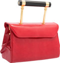 "Luxury Accessories:Bags, Judith Leiber Red Karung Top Handle Evening Bag. Very GoodCondition. 7.5"" Width x 5"" Height x 3.5"" Depth. ..."