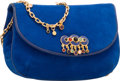"Luxury Accessories:Bags, Judith Leiber Blue Suede & Karung Evening Bag. Very Good toExcellent Condition. 8"" Width x 5"" Height x 3"" Depth...."