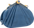 "Luxury Accessories:Bags, Judith Leiber Blue Karung Evening Bag. Very Good Condition.8"" Width x 6"" Height x 2"" Depth. ..."