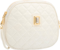 "Judith Leiber White Quilted Leather Shoulder Bag with Gold Hardware Good Condition 8"" Width x 6"""