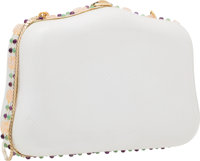 Judith Leiber White Karung & Semiprecious Gemstone Evening Bag with Gold Hardware Good to Very Good Condition&lt...
