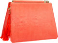 """Luxury Accessories:Accessories, Judith Leiber Red Karung & Semiprecious Stone Shoulder Bag withGold Hardware. Very Good Condition. 7"""" Width x 5.5""""He..."""