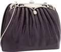 """Luxury Accessories:Accessories, Judith Leiber Purple Karung & Silver Crystal Evening Bag with Silver Hardware. Very Good to Excellent Condition. 7"""" Wi..."""