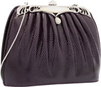 Judith Leiber Purple Karung & Silver Crystal Evening Bag with Silver Hardware Very Good to Excellent Condition&l...