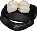 "Luxury Accessories:Accessories, Judith Leiber Black Suede & Silver Crystal Monkey Belt withGold Hardware. Very Good Condition . 23"" - 34"" Length x1""..."