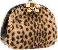 "Luxury Accessories:Accessories, Judith Leiber Leopard Print Faux Fur & Black Leather Shoulder Bag with Gold Hardware. Very Good Condition. 7"" Width x ..."
