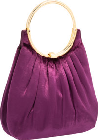 "Judith Leiber Purple Velvet Top Handle Bag with Gold Hardware Very Good Condition 8"" Width x 7"" H"