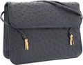 "Luxury Accessories:Accessories, Judith Leiber Navy Blue Ostrich Shoulder Bag with Gold Hardware.Very Good Condition. 10"" Width x 9"" Height x 2""Depth..."
