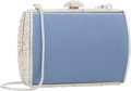 """Luxury Accessories:Accessories, Judith Leiber Blue Satin & Silver Crystal Evening Bag. VeryGood Condition. 4"""" Width x 3"""" Height x 1"""" Depth. ..."""