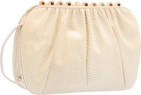 Judith Leiber Beige Karung & Semiprecious Stone Shoulder Bag with Gold Hardware Good to Very Good Condition
