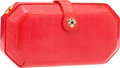 """Luxury Accessories:Accessories, Judith Leiber Red Karung & Semiprecious Stone Clutch Bag withGold Hardware. Good Condition. 8"""" Width x 5"""" Height x3""""..."""
