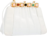 Judith Leiber White Karung & Semiprecious Stone Shoulder Bag with Gold Hardware Good to Very Good Condition