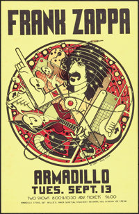 """Frank Zappa at the Armadillo World Headquarters (AWH, 1977). Concert Poster (11"""" X 17""""). Rock and Roll"""