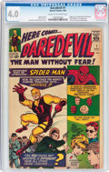 Silver Age (1956-1969):Superhero, Daredevil #1 (Marvel, 1964) CGC VG 4.0 Cream to off-white pages....