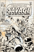 Original Comic Art:Covers, Don Heck Captain Savage #13 Cover Original Art (Marvel,1969)....