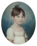 Fine Art - Painting, American:Antique  (Pre 1900), James Sharples (American, 1751-1811). Portraits of Two YoungGirls (two works). Pastel on paper, each. 8-1/4 x 6-1/2 inc...(Total: 2 Items)