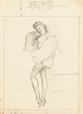 Fine Art - Work on Paper:Drawing, Gil Elvgren (American, 1914-1980). This is the Skin You Love toTouch, preliminary sketch, circa 1947. Pencil on paper. ...