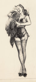 Fine Art - Work on Paper:Drawing, Gil Elvgren (American, 1914-1980). That Touch of Mink,preliminary sketch, circa 1947. Charcoal on vellum. 25-3/4 x19-3...