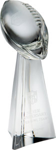 Football Collectibles:Others, 1991 Silver Anniversary Super Bowl Team Crystal Lombardi Trophy Presented to Jerry Kramer....