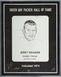 Football Collectibles:Others, 1974 Jerry Kramer Green Bay Packers Hall of Fame Induction Plaque. ...