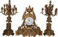 Decorative Arts, French:Other , A Three Piece Napoleon III Gilt Bronze Clock Garniture, 19thcentury. Marks to clock face: B. WORMS RUE JACOB 28 & RUEROY... (Total: 3 Items)