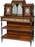Furniture : French, A Louis XVI-Style Mahogany and Maple Bonheur du Jour with GiltBronze and Porcelain Mounts, 19th century. 49-1/2 inches high...(Total: 2 Items)