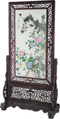 Asian:Chinese, A Large Chinese Enameled Porcelain Screen with Stand. 72 incheshigh x 36 inches wide x 17-1/2 inches deep (182.9 x 91.4 x 4...
