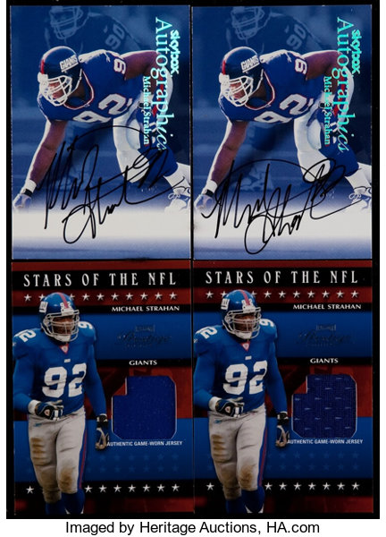 huge selection of aa6cc 1db67 1999-2003 Football Michael Strahan Jersey Card and Autograph ...