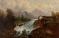Fine Art - Painting, European:Antique  (Pre 1900), T. Mirani (19th Century, Continental School). Landscape withWaterfall. Oil on canvas. 19-1/4 x 28-3/4 inches (48.9 x 73...