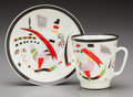 Ceramics & Porcelain, Russian, A Wassily Kandinsky Glazed Porcelain Cup and Saucer, circa 1923.Painted in underglaze (hammer-scythe-cog), 1923. 4-3/4 ...(Total: 2 Items)