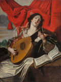 Fine Art - Painting, European:Antique  (Pre 1900), After Abraham Janssens. Woman with a Lute. Oil on canvas.46-1/2 x 35 inches (118.1 x 88.9 cm). ...