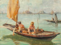 Paintings, Angelo Brombo (Italian, 1893-1962). Young Venetian Fishermen. Oil on canvas. 23-1/2 x 31-1/2 inches (59.7 x 80 cm). Sign...