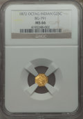 California Fractional Gold , 1872 25C Indian Octagonal 25 Cents, BG-791, R.3, MS66 NGC....