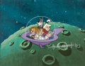 Animation Art:Production Cel, The Jetsons Family in Car Production Cel Setup withBackground (Hanna-Barbera, 1985). ...