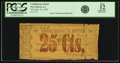Obsoletes By State:Louisiana, New Iberia, LA - Confederate Hotel 25 Cents Sept. 26, 1862. PCGS Fine 12 Apparent.. ...