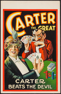 """Carter the Great (c. 1928). Window Card (14"""" X 22"""") """"Carter Beats the Devil."""" Miscellaneous"""