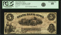Obsoletes By State:Iowa, Oskaloosa, IA - State Bank of Iowa, Branch at Oskaloosa $5 Jan. 4,1859 Contemporary Counterfeit IA-1 C264, Oakes 107-9. PCGS ...