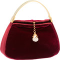 "Luxury Accessories:Bags, Judith Leiber Red Velvet Evening Bag. Excellent Condition.8"" Width x 5"" Height x 3"" Depth. ..."