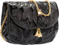 """Luxury Accessories:Bags, Judith Leiber Black Embroidered Patent Leather Mini Shoulder Bag.Very Good to Excellent Condition. 7"""" Width x 5""""Heig..."""