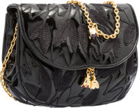 Judith Leiber Black Embroidered Patent Leather Mini Shoulder Bag Very Good to Excellent Condition